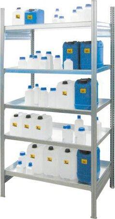 Kleingebinde-Gefahrstoffregal für wassergefährdende Flüssigkeit