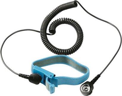 Textil-Armband für die Erdung am Arbeitstisch (ESD) mit Spiralkabel