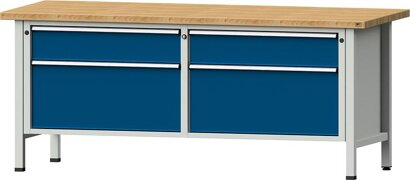 Kastenwerkbank Serie VX, Modell 205 VX, lichtgrau/enzianblau