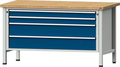 Kastenwerkbank Serie VX, Modell 21 VX, lichtgrau/enzianblau