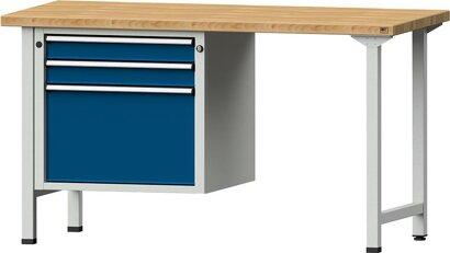 Kombiwerkbank Serie V mit Schubladenunterschrank hängend, mit 3 Schubladen