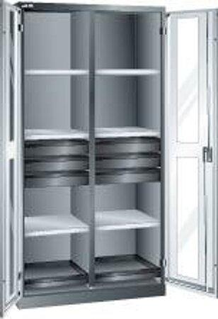 Flügeltürschrank mit 6 Verstellböden, 6 Schubladen, 2 Auszugböden, 1 Trennwand
