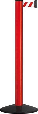 Sperrgurtpfosten, Pfosten rot, Gurt rot-weiß