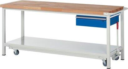 Absenkbare Werkbank, 1x Schublade, Stahlblech-Ablageboden