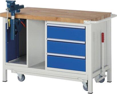 Absenkbare Werkbank, 3 Schubladen, 1 Schrank mit Schraubstock