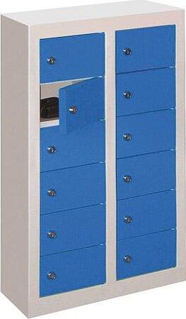 Fächerschrank in RAL 7035 lichtgrau/ RAL 5012 lichtblau