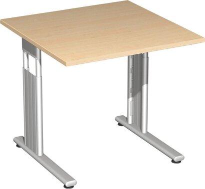 Schreibtisch Flex, C-Fuß, HxBxT 680–820x800x800 mm