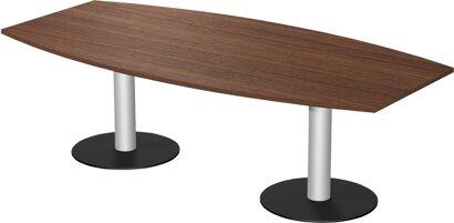 Konferenztisch mit 2 Säulenfüßen fassförmig, HxT 720x800–1200 mm