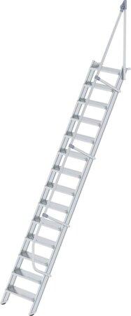 Aluminium-Industrietreppe mit Handlauf, Neigung 60°, Stufenbreite 600 mm