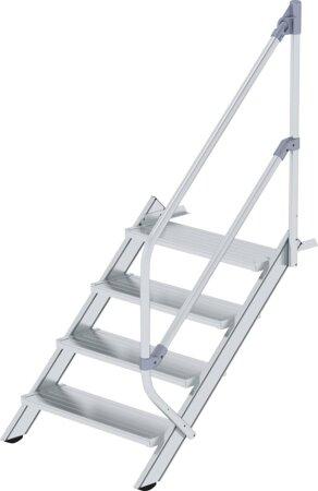 Aluminium-Industrietreppe mit Handlauf, Neigung 45°, Stufenbreite 800 mm