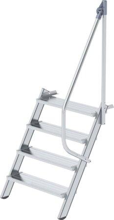 Aluminium-Industrietreppe mit Handlauf, Neigung 60°, Stufenbreite 800 mm