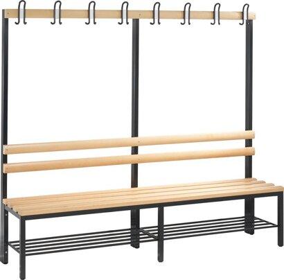 Einseitige Garderobenbank, Holzleiste