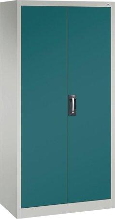 Büro-Flügeltürschrank mit 4 verstellbaren lackierten Böden, Türen RAL 5021