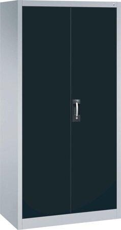 Büro-Flügeltürschrank mit 4 verstellbaren lackierten Böden, Türen RAL 7021