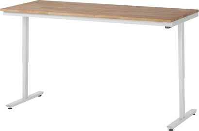 Arbeitstisch, Serie adlatus 150, Buche-Massivplatte, Tiefe 800 mm