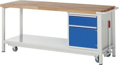 Absenkbare Werkbank, 1 Schublade, 1 Tür, Stahlblech-Ablageboden