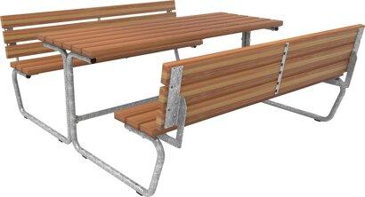 Bank-Tisch-Kombination mit Rückenlehne