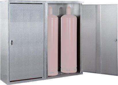 Kleingasflaschenschrank, Türen mit Lüftungsspalten