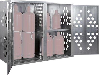Kleingasflaschenschrank, Seitenwände und Türen gelocht