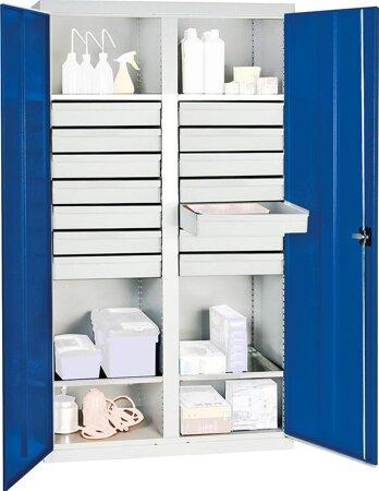 Werkzeug-Materialschränke Serie 2000, 14 Schubladen, 4 Fachböden, Mitteltrennw.