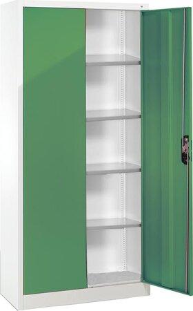 Büro-Flügeltürenschrank RAL 7035/6011 mit 4 verstellbaren Einlegeböden
