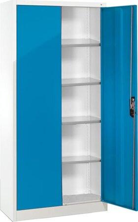 Büro-Flügeltürenschrank RAL 7035/5012 mit 4 verstellbaren Einlegeböden