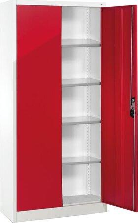Büro-Flügeltürenschrank RAL 7035/3003 mit 4 verstellbaren Einlegeböden