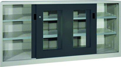 Schiebetürenschrank, Breite 2000, mit Sichtfenstertüren und Mitteltrennw., verz.