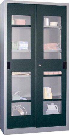 Schiebetürenschrank, Breite 1000 mm, mit Sichtfenstertüren, Böden gepulvert