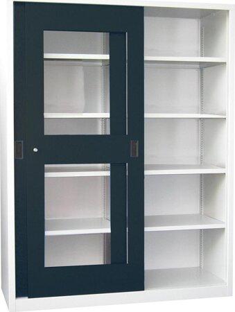 Schiebetürenschrank, Breite 1500, mit Sichtfenstertüren und Mitteltrennw. gepul.