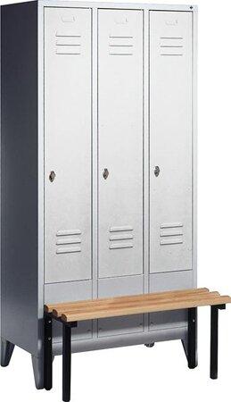 Garderobenschrank mit Füßen, Serie Classic, vorgebauter Sitzbank, Höhe 1850 mm