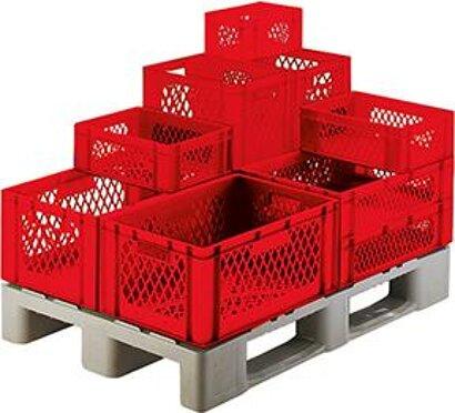 Transport-Stapelkasten, Wände und Boden durchbrochen, rot