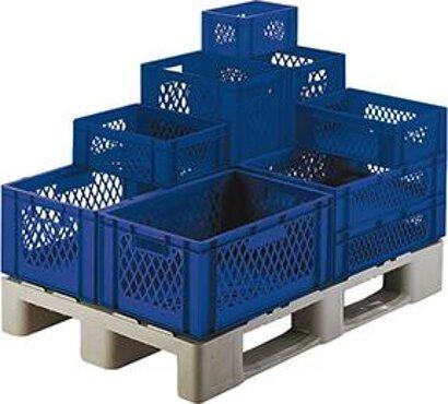 Transport-Stapelkasten, Wände und Boden durchbrochen, blau