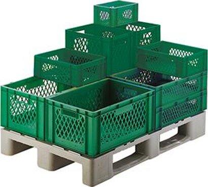 Transport-Stapelkasten, Wände und Boden durchbrochen, grün