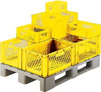 Transport-Stapelkasten, Wände und Boden durchbrochen, gelb