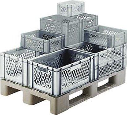 Transport-Stapelkasten, Wände und Boden durchbrochen, grau