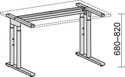 """Schreibtisch C-Fuß """"Pro"""", 680–820x2166x800/1130 mm 135° links"""