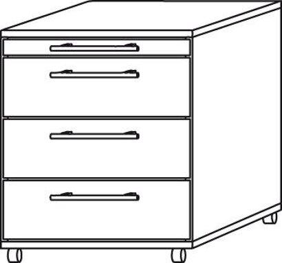 Container zur Schreibtischserie B, Nussbaum