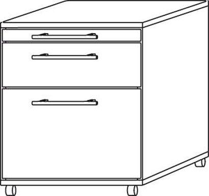 Container zur Schreibtischserie B, lichtgrau
