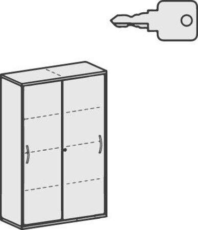 Schiebetürenschrank zu Büromöbelserie Pro, mit Mitteltrennwand