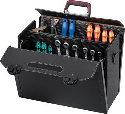 Werkzeugtasche mit teilaufklappbarer Vorderwand