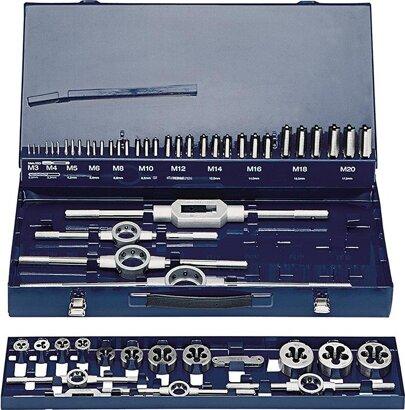 Gewindeschneidwerkzeug-Satz in Metallkassette M3-M20 52-tlg
