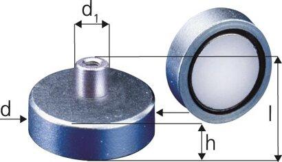 Neodym-Magnet-Flachgreifer mit Gewindebuchse