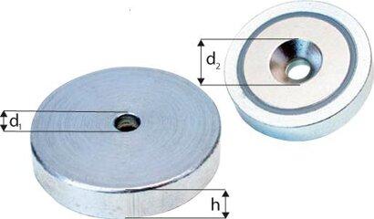 Neodym-Magnet-Flachgreifer mit Bohrung