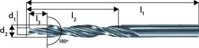 Mehrfasenstufenbohrer zyl. Schaft 180° Durchgangsloch