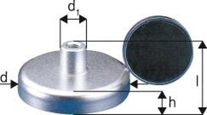 Magnet-Flachgreifer mit Gewindebuchse