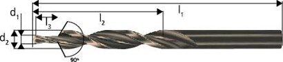 Mehrfasenstufenbohrer zyl. Schaft 90° Durchgangsloch