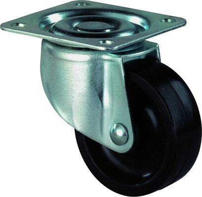 Möbel-Lenkrolle auf Platte mit Kunststoffrad