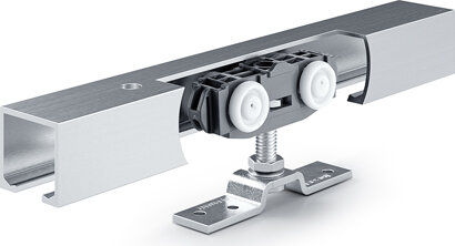 Schiebetürbeschlag mit Laufschiene Rollan 80 NT, Aluminium
