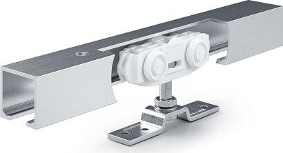 Schiebetürbeschlag mit Laufschiene Rollan 40 N, Aluminium